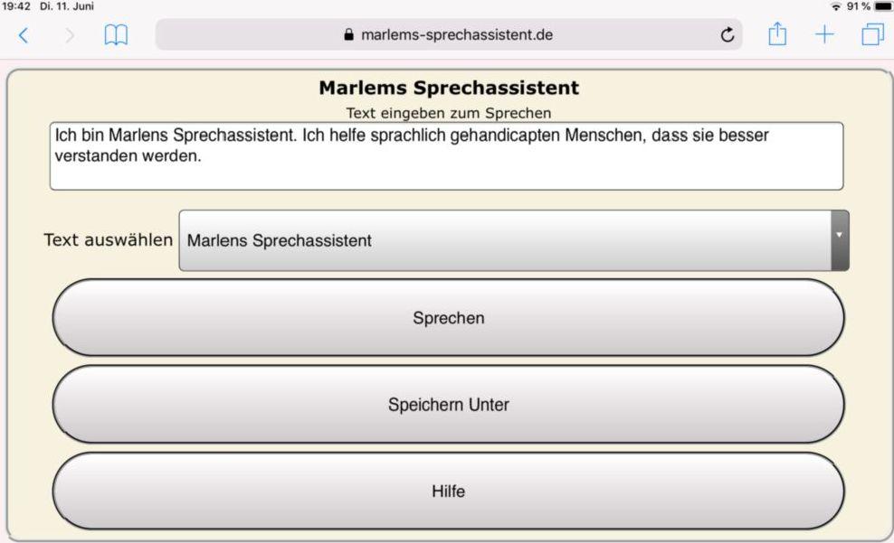 Marlems Sprechassistent auf einem Ipad mit gr&oumlen Schaltern