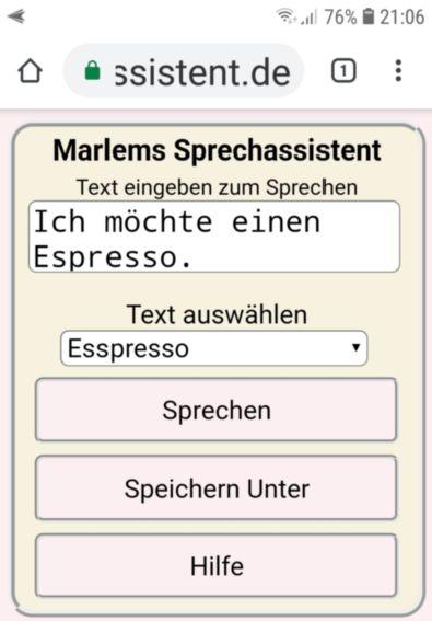 Marlems Sprechassistent auf einem Android Smartphone